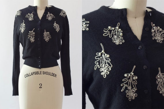 50s Black Beaded Cardigan | XS/S