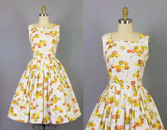neckline 50s print novelty scalloped small 1950s print sundress dress cotton w cherry wOnqF4Y8X