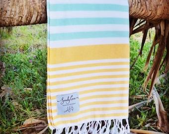 Original Traveller Towel - Summer - 100% Cotton, Turkish Towel, Beach Towel, Bath Towel and Travel Towel