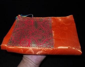 Nepal Tibet Buddhist Orange Color Mantras Book Brocade Wrapping Cloth