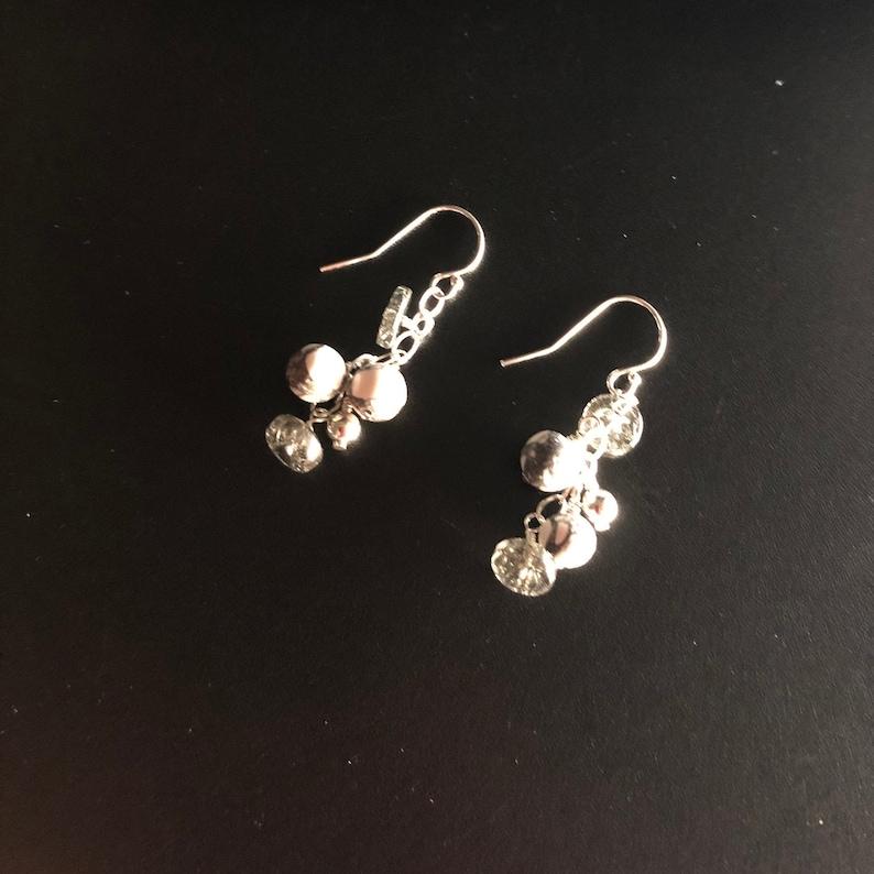 Black and White Howlite and Rutilated Quartz Dangle Earrings Made in Oregon