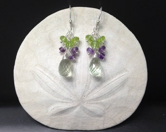 Colorful Pale Green Amethyst with Peridot and Purple Amethyst Cluster Earrings
