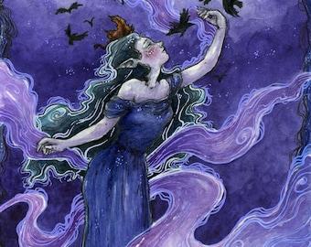Art print watercolor - Elven lady / Fantasy / Fairy / Fae / Ravens / Magical / Autumn