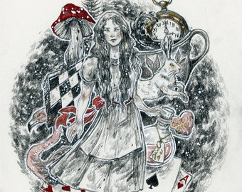 Art Print Waterclor - Alice / Wonderland / Toadstool / Drink Me Potion / Rabbit