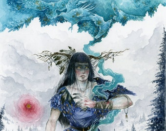 Art Print Watercolor - Shaman / Witch lady / Healer / Ravens
