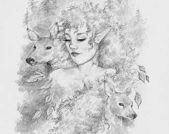 Art print pencil drawing - Elven / Fantasy / Fairy / Fae / Spring / Leaves / Forest / Deer