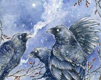 Art Print Watercolor - Ravens / Crows / Mist / Rosehips