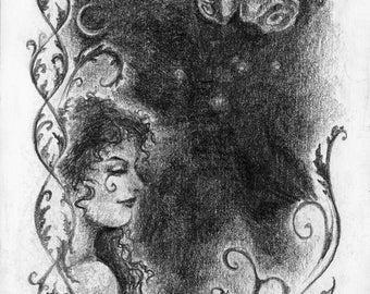 Art print pencil drawing - Elven / Fantasy / Fairy / Fae / Spring / Roses
