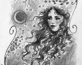 Art print pencil drawing - Elven / Fantasy / Fairy / Fae / Spring / Crescent moon / Flowers