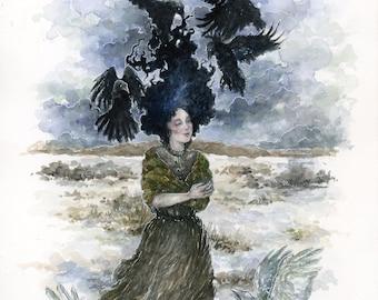 Art Print Watercolor - Raven Child / Ravens / Fairy / Fantasy