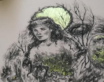 Art Print Watercolor - Greeting Card / Fairy / Rabbit / Bird / Spring
