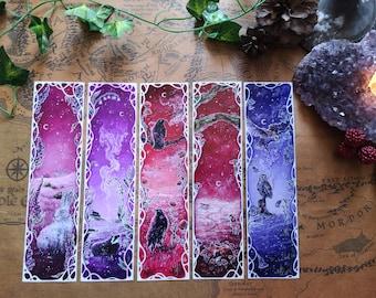 Set of FIVE BOOKMARKS - Printed bookmarks / Fantasy Art / Illustration / Reading / Rabbit - Badger - Raven - Fox - Owl