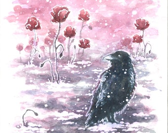 Art print watercolor - Fantasy / Raven / Poppy / Snow / Winter / Imbolc