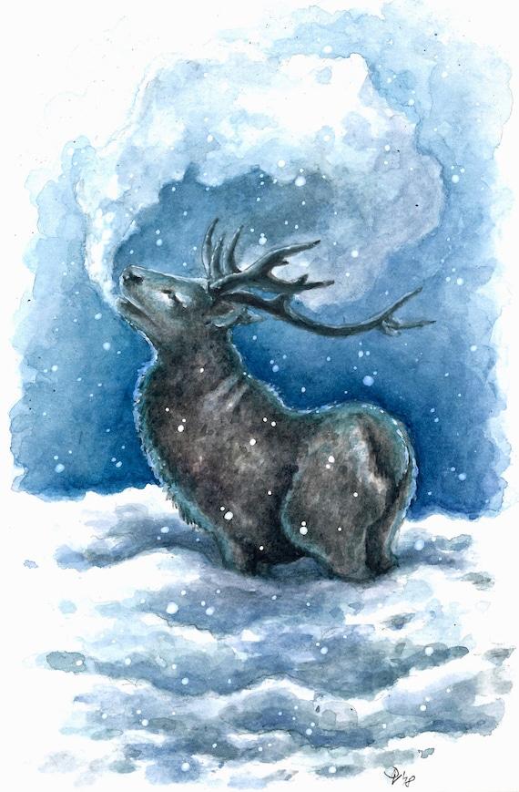 Art Print Watercolor Fantasy Deer Winter Snowy Etsy Vind stockafbeeldingen in hd voor oh dear winter holidays hand drawn en miljoenen andere winter holidays hand drawn vintage deer. etsy