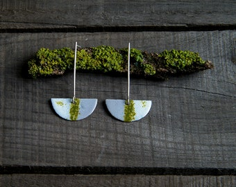 Vitreous enamel jewelry, nature jewelry, moss earrings, nature inspired earrings, enamel and silver, botanical jewellery, nature lovers