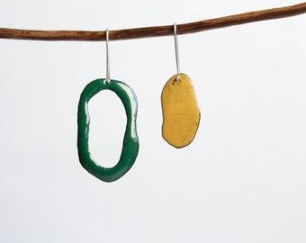 Diatom earrings, ocean lovers earrings, contemporary jewelry, vitreous enamel earrings, organic shape earrings, geek biology woman gift