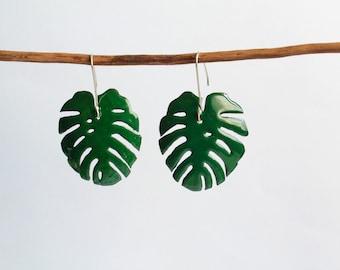 Vitreous enamel, monstera earrings, jungle earrings, tropical lovers, Monstera jewelry, tropical earringss, monstera leaf earrings, Tropical
