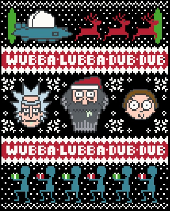 Rick And Morty Christmas Sweater.Pattern Only Rick Morty Christmas Sweater Cross Stitch