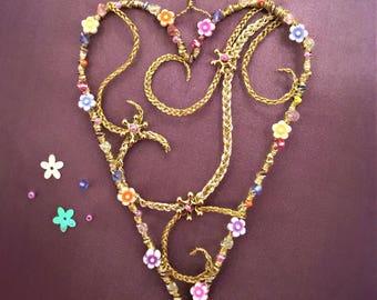 Rapunzel Heart Beaded Flower Decoration Handmade Christmas / Birthday Gift - Tangled - Princess Collection