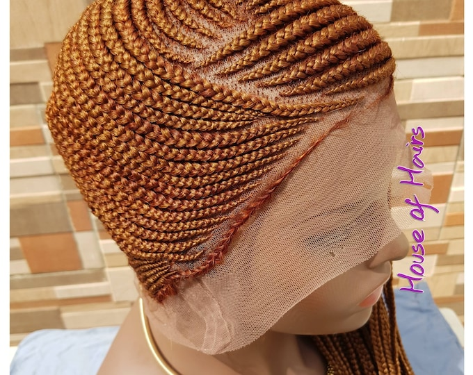 "Braided FULL LACE Wig Lemonade Braids Cornrow Ghana Weave Box Braids Auburn Col 30 24-26"" Baby Hair"