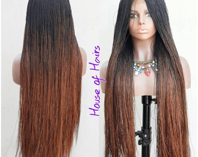 "Strandz Braided Closure Crochet Wig Senegalese Needle Twist 1/30 Ombre Black Brown 28-30"""