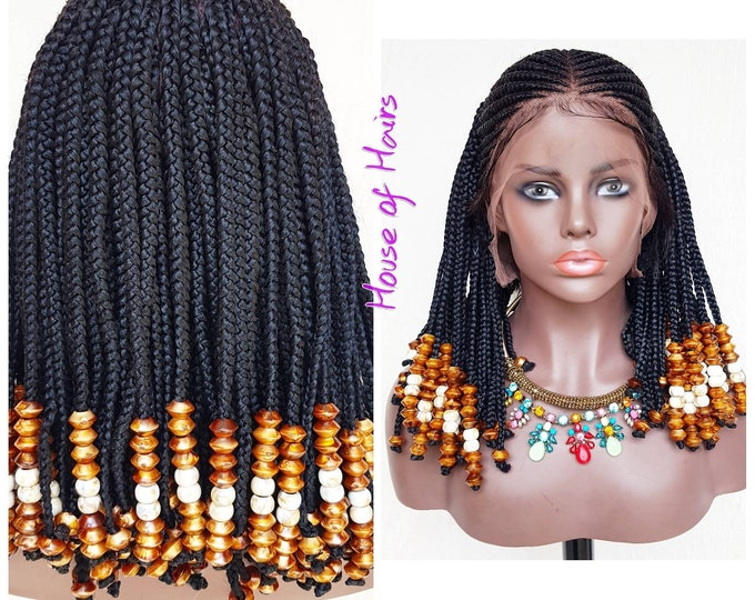 YASMIN - Handmade Braided Full Lace Wig Tribal Cornrow Ghana Weave with Box Braids Black Beads Cardi B