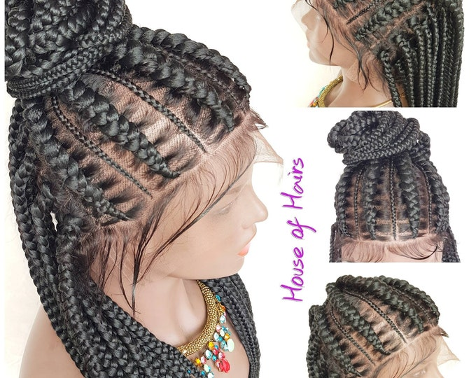 XENA - Braided FULL LACE Wig Stitch Braids Updo Braids Cornrow Ghana Weave Box Braids Col 1 Black 22-24""