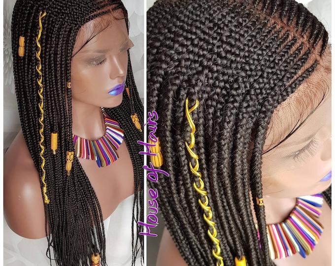 Handmade Layer Braids Cornrows Braided Full Lace Wig Colour 1b Off Black Baby Hair