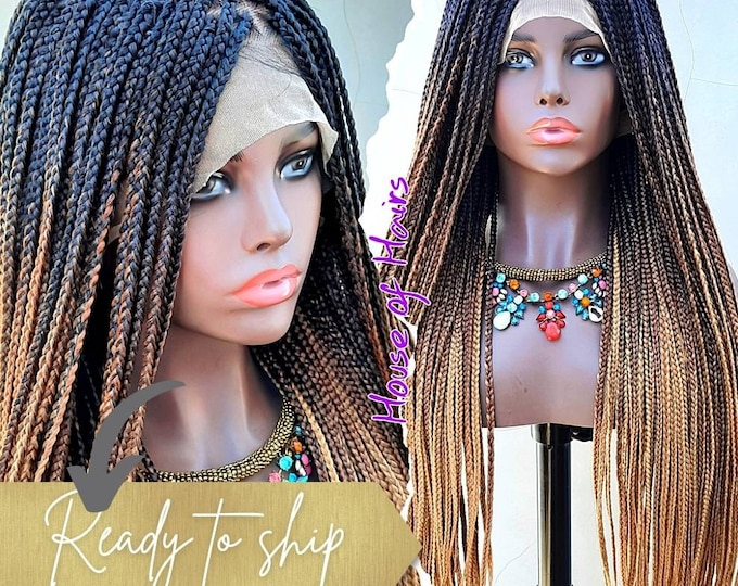 "Small/Medium Box Braids Full Lace Wig Black Ombre Blonde 3 tone 24""-26"""