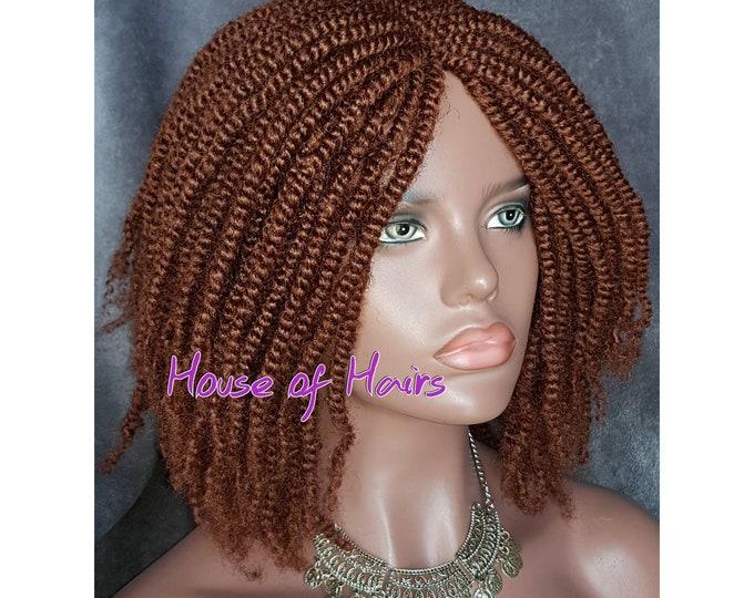 "Handmade Glueless Braided Crochet Wig Afro Kinky SPRING Twist 35 Red Auburn 14"" NEW"