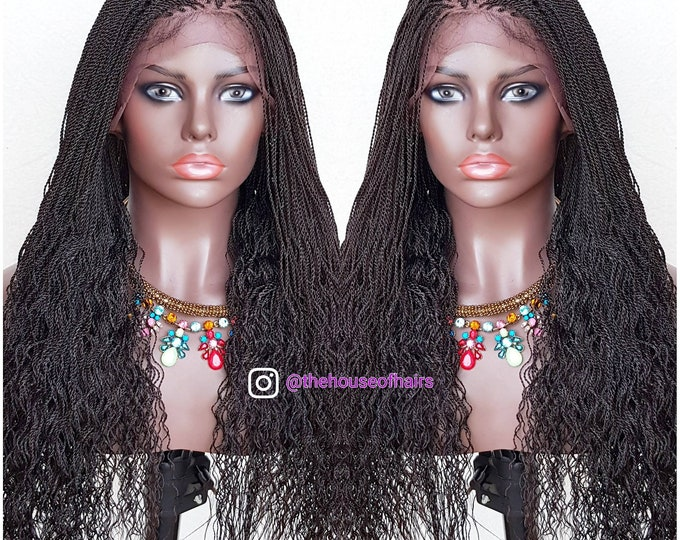"Handmade Whole Lace Wig Wavy Ends Micro Twist Black 24-26"" #4 Dark brown"