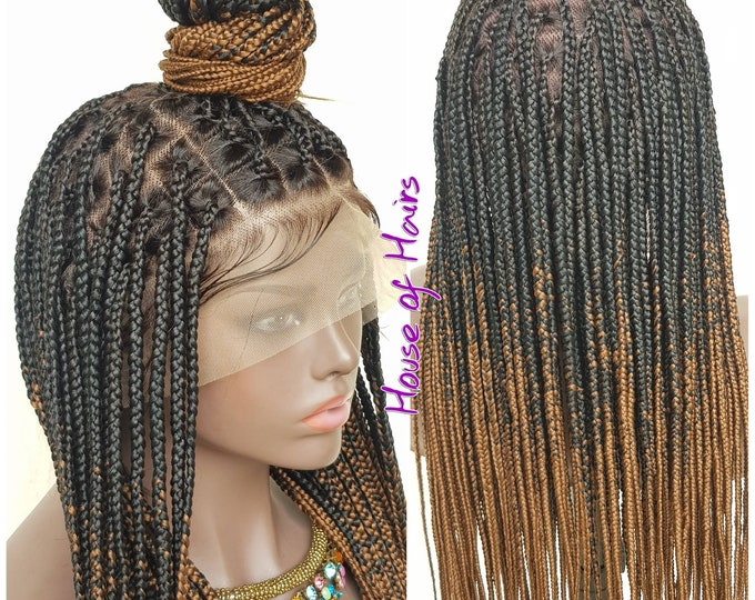"Handmade Glueless Medium Box Braids Full Lace Knotless Wig Black Ombre Brown 24"" HD Lace"