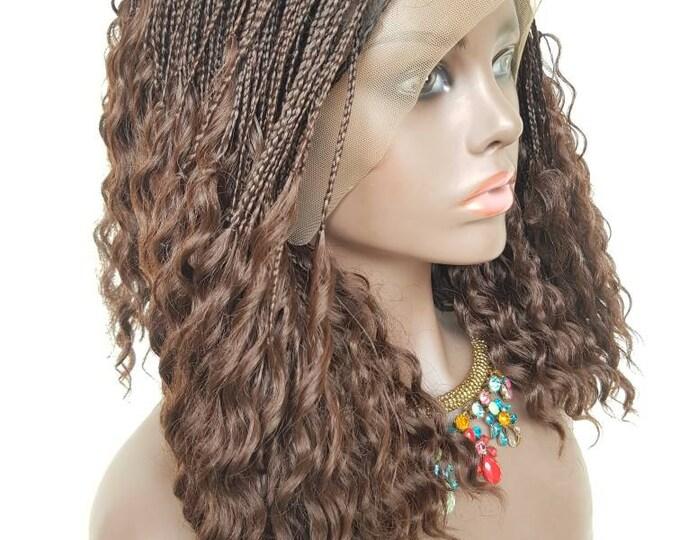 "Handmade Braided Frontal Micro plait pick n drop part braided wig colour 33 12"""