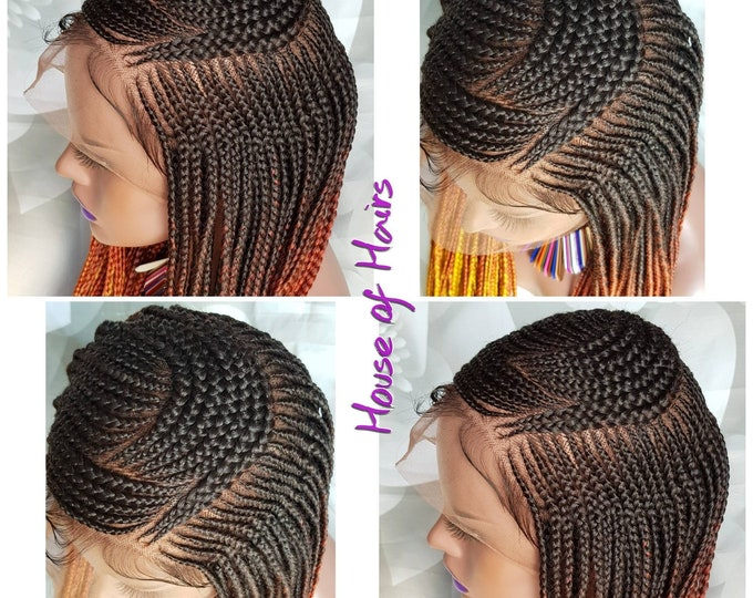 Handmade Tribal Braids Cornrows Braided Full Lace Wig Ombre 3 tone Black Baby 24""