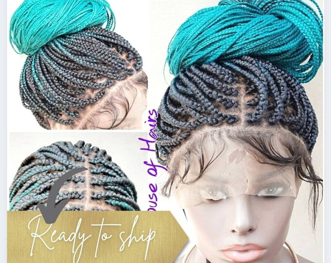 "Small/Medium Box Braids Full Lace Wig Black Ombre Teal Green 2 tone 24""-26"""