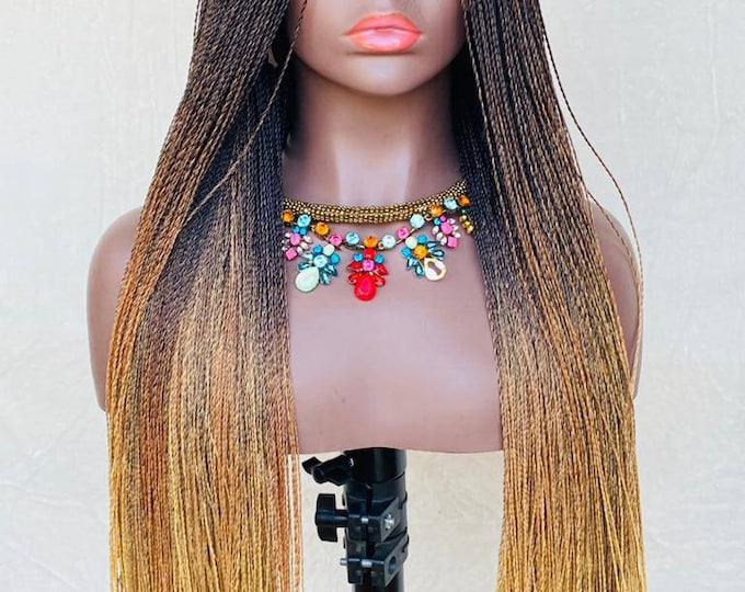 """Handmade Braided Lace Front Wig Senegalese Micro Twist 3 tone Ombre Black Blonde 26-28"""""""