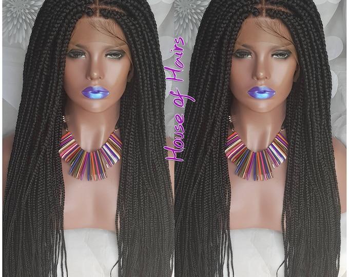 "Handmade Glueless Medium Box Braids FRONTAL Box Black 20-22"""