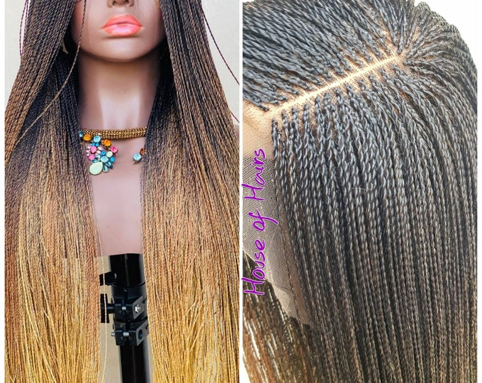 Handmade Braided Lace Front Wig Senegalese Micro Twist 3 tone Ombre Black Blonde 26-28""