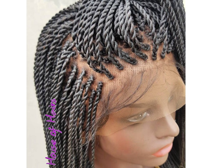 Handmade Braided Full Lace Wig Small Senegalese Twist colour 1 black 18-20""