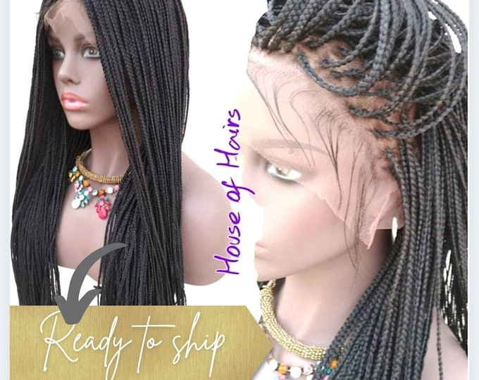 Braided Full Lace Wig Micro Plaits Braids Colour 1B Off Black 26""