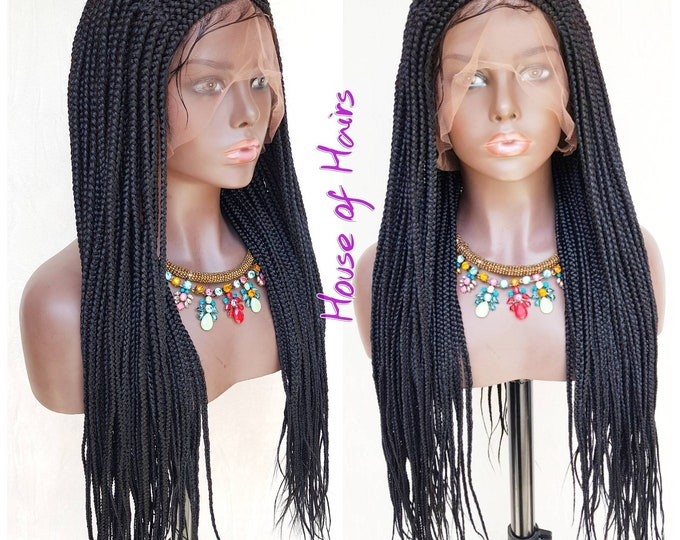 Handmade Braided Full Lace Wig Tribal Cornrow Ghana Weave with Box Braids Black