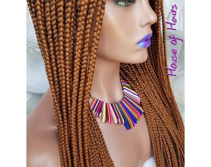 "Handmade Glueless Medium Large Box Braids Plaits Full Lace Colour 30 Auburn 26-28"""