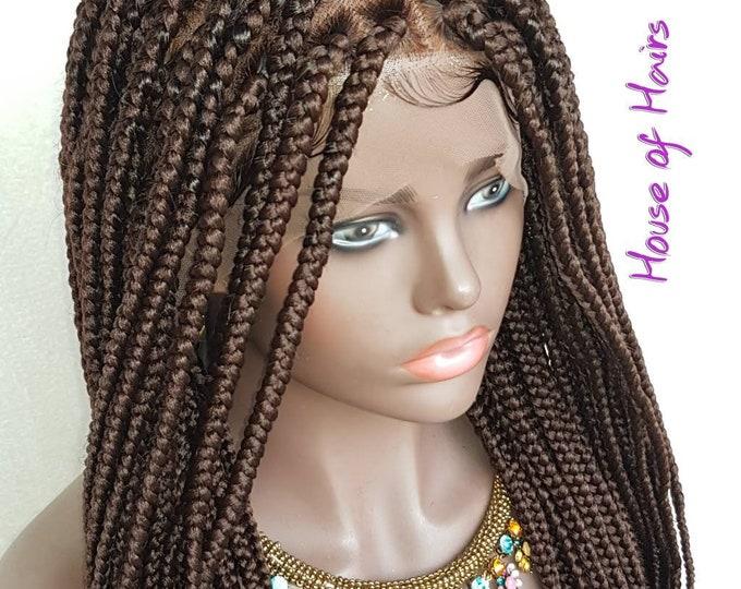 "Handmade Glueless Medium Box Braids Plaits Full Lace Colour 33 Auburn 24"""