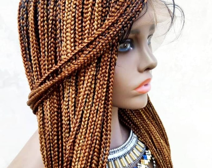 """GRACE - Knotless Box Braids Frontal Lace Wig Black Ombre Effect Brown 2 tone 26-28"""""""