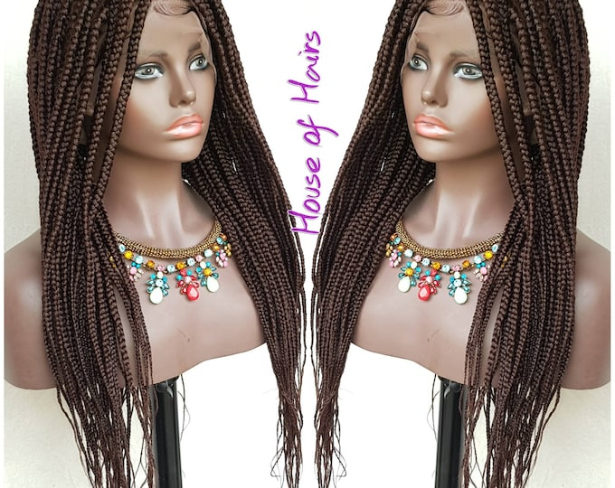 Handmade Glueless Medium Box Braids Plaits Full Lace Colour 33 Auburn 24""