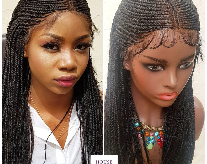 Handmade Braided Full Lace Wig Boho Tribal Cornrow Ghana Weave with Box Braids Human Hair curls #1b *** Read Description