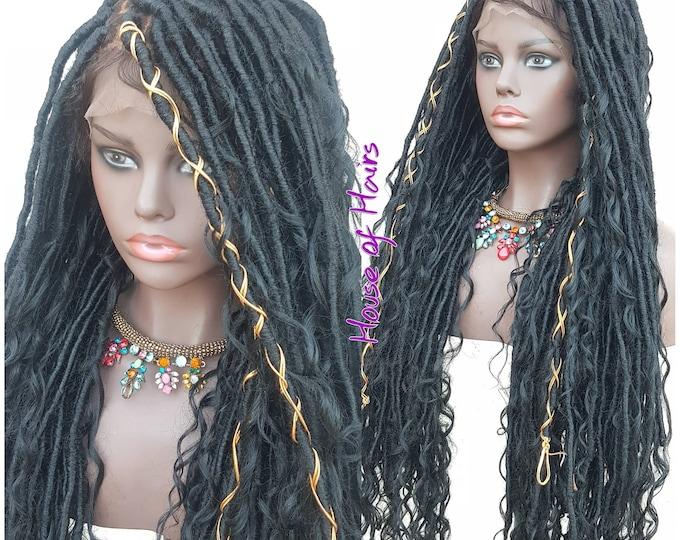 "LEA - Handmade Braided FULL Lace Wig Boho Goddess Locs Black Baby Hair 28-30"""