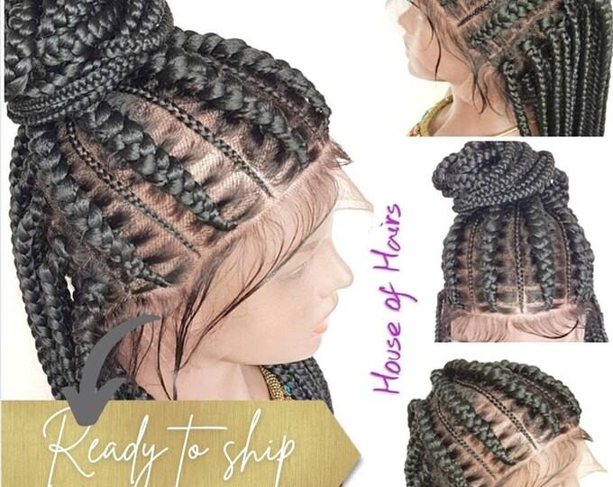 "XENA - Braided FULL LACE Wig Stitch Braids Updo Braids Cornrow Ghana Weave Box Braids Col 1 Black 22-24"""