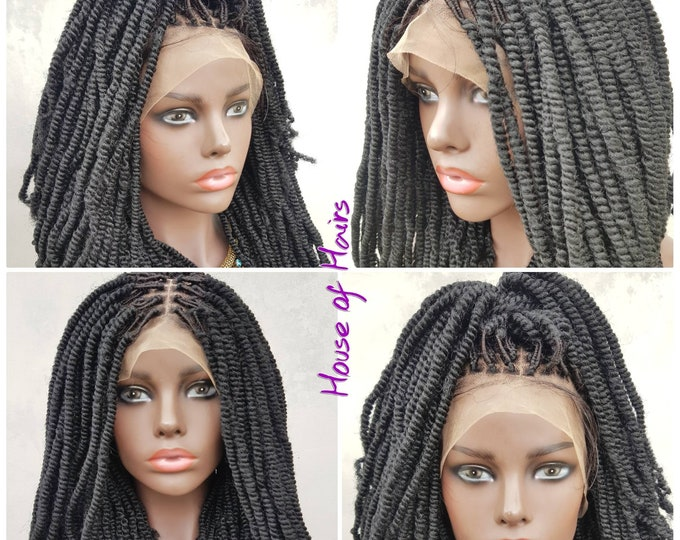 "SHELLY - Handmade Braided Frontal Lace Closure Crochet Wig Afro Kinky SPRING Twist Ombre Black Auburn 14"" NEW"