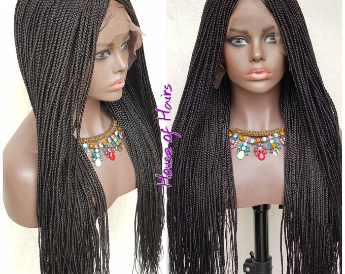 Braided Full Lace Wig Micro Plaits Braids Colour 2 Off Black 26-28""